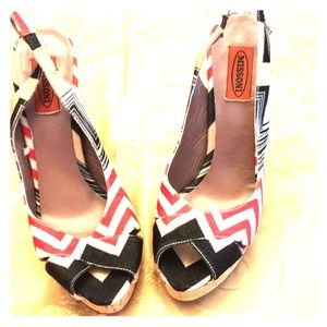 authentic missoni Platform sling backs.